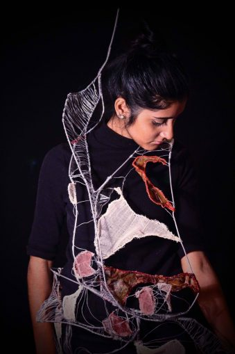 Alexandra Hreharcluc's wearable sculpture work based on themes of protection,
