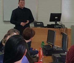 Degree In Media Production Management graduate talks to students about working in the media