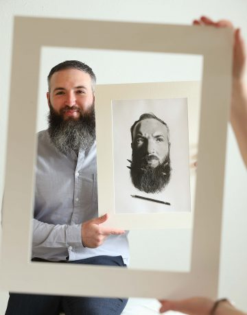 Double Take, Stephan Doyle, graduating student of Ballyfermot College of Further Education pictured at the Ideate Graduate Design Exhibition with his self-portrait.