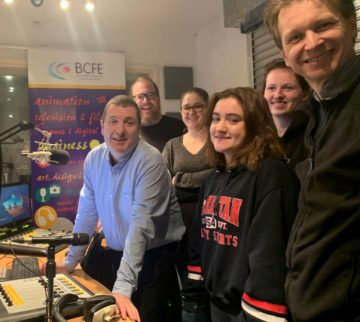 Left to Right Bernard Evans Course Coordinator MRH Radio Course and ex Students Gordon Rochford of 'Those Conspiracy Guys' and Jennifer Dollard formerly of Today FM and now Content Manager of Acast.com with some current students in one of the Radio Studio